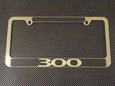 Chrysler 300 Chrome Metal License Plate frame Carbon Fiber Chrome Text