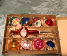 Vintage Box Of Woolworths Coloured Glass Christmas Tree Ornaments. 9.