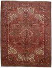 Handmade Vintage 10X13 Geometric Style Heriz Oriental Rug Farmhouse Decor Carpet