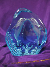 Stunning Blue Cut Glass Crystal Dolfins