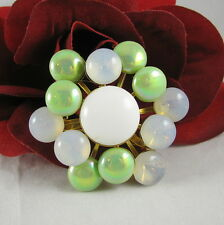 Vintage Glowing Blue & Green Baubles Brooch Pin CAT RESCUE