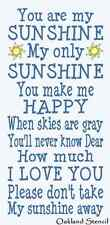 """Primitive STENCIL**You are my Sunshine**Typography Subway for Signs 12""""x 24"""""""