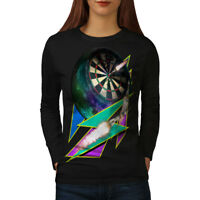 Wellcoda Dart Board Gaming Womens Long Sleeve T-shirt, Achieve Casual Design