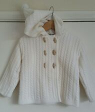 Sarah Louise Ivory Hooded Cardigan Girls Jacket- Aged 18 Months fits 1-2 Years.