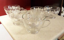 6 Glass Punch Cups Vintage Anchor Hocking Pattern #76 Grape Clear w/ Gold Trim