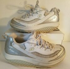 Womens Skechers Shape-Ups Fitness Shoes Size 8.5 White/Silver Style 12354