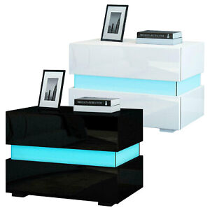 Modern High Gloss with Drawers Bedside Table Cabinet Nightstand Unit LED Ligh