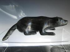 ~RARE~ John Terriak, Nain Serpentine Inuit Sculpture of a Wolverine (signed)