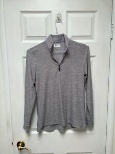 Greg Norman Women's Long Sleeve Golf Shirt S/P Grey 1/4 Zipper Play Dry Shark Lo
