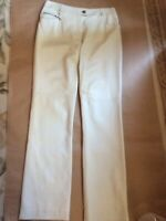 Authentic Chanel White Leather Pants 42 / 10 / M