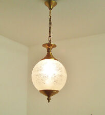 LOVELY ROUND GLASS LANTERN CHANDELIER LIGHT BALL CHANDELIER FLORAL LUSTRE ANCIEN