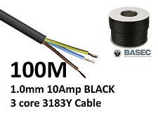 100M Cable Flexible Negro PVC Flex 3 Core 1.0mm 10 Amp 3183Y