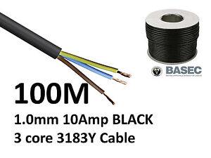 100M Black PVC Flexible Cable Flex 3 core 1.0mm 10 Amp 3183Y Wire Mains Round