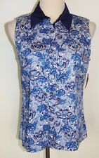 New Charter Club Golf Collection Sleeveless Shirt Blue Floral Cotton Tank Top 10