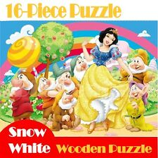 Hot New Disney Wooden 16 Pieces Snow White Jigsaw Puzzle Best Gifts for Kids