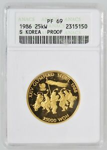 1986 S. Korea Seoul Olympics Folk Dancing Gold 25,000 Won ANACS PF69 1/2 OZT