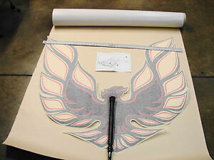 73-78 PONTIAC FIREBIRD TRANS AM NOS GM RED & CHARCOAL HOOD BIRD DECAL pt# 500666