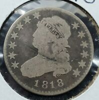 1818 25C Capped Bust Quarter Choice VG Very Good Circulated Neat Toning OBV &REV