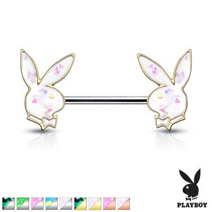 PAIR Opal Glitter Playboy Bunny Nipple Rings Shield 316L Surgical Steel Barbells