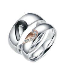 Men Women Hear Shape Wedding Ring Cubic Zirconia Love Anniversary Band Size J-Y