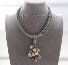 "16"" 14mm white gray black pink pearls gray leather necklace magnet clasp j9569"