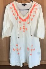 Riviera Sun Embroidered Tunic Top Cover Up Resort Wear XL