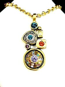 2010 PATRICIA LOCKE GOLDTONE CHAIN NECKLACE MULTICOLOR STONE MODERN ART PENDANT