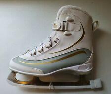 Lake Placid Everest Women's Soft Boot Figure Ice Skate, White/Gold, Size 7