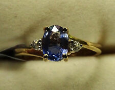 Rare 1Ct Natural Ceylon Blue Sapphire & Zircon 10K Y Gold Ring Size N-O/7