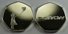 BANKSY Silver Commemorative Coin 50p Collectors. Balloon Girl, Street Art, NEW!