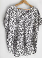 COUNTRY ROAD black & white leaf Print Top Blouse Size 14