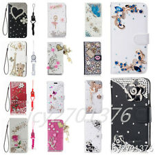 Flip Leather Stand bling Crystal Wallet Case Magnetic Cover For Moto & 2 straps