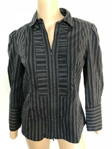 CUE long sleeve black striped zip up top shirt blouse 10 near new