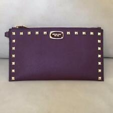 NWT Michael Kors Plum Saffiano Leather Studded Zip Clutch Wristlet