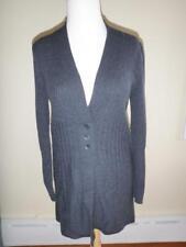 Llewellyn Merino Wool Charcoal Gray Ribbed Long Sweater Cardigan -- EUC