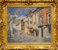 Framed oil on canvas, Street Scene, Barcelona, by Juan Collado y Anton/ Spanish