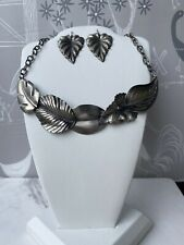 Industrial Artisan Necklace Earrings Handmade Leaf, Nature Themed Silver Tone