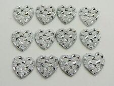 200 Silver Flatback Acrylic Glitter Stardust Heart Rhinestone Cabochons 11X11mm
