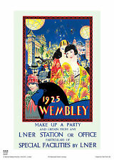 LONDON WEMBLEY EXHIBITION RETRO VINTAGE RAILWAY TRAVEL ADVERTISING POSTER