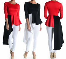 Hi Lo Side Ruffle Peplum Dress Top Blouse Red Black White
