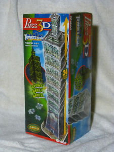 Wrebbit Puzz 3D Taipei 101 Towers Made to Scale Puzzle #04655 586pc New