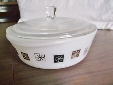 Vintage Covered Casserole Dish, Atomic Snowflake Design, INLAND GLASS & Lid