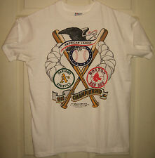ATHLETICS Shirt L 1990 Vintage Oakland A's Red Sox American League OOP RARE HTF