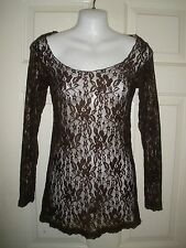 #1082 Lady Noiz Brown Lace Top GOTHIC SEE-Thru L Sexy Sheer Shirt Transparent