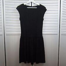Worthington Black Dress Cap Sleeve Textured Drop Waist Sheath Dress Woman Size 4