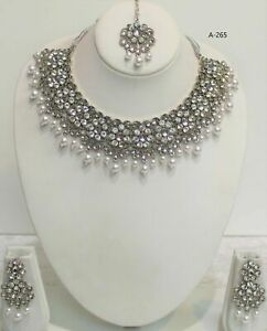 Indian Ethnic Vintage Boho Oxidised silver  Necklace With Earrings bollywood new