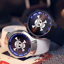 Anime One Piece Logo LED Touch Screen Electronic Glass Wrist Watch Fashion Gift