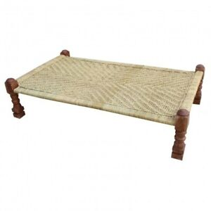 Indian Inspired Tribal Solid Wood Charpai Khat Manjhi Woven Daybed Brown Jute
