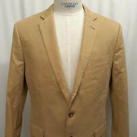 J CREW LUDLOW jacket blazer sport coat 100% cotton Tan Khaki 2 buttton