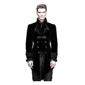 Mens Black Velvet Gothic Victorian Steampunk Vampire Costume Swallow Tail Jacket